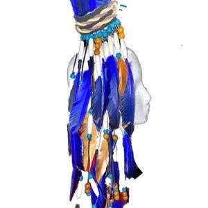 Royal Blue Ethnic Feather Headpiece